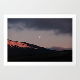 Moon over blackness and red pink ice Art Print