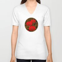 poppies V-neck T-shirts featuring Poppies by Pirmin Nohr