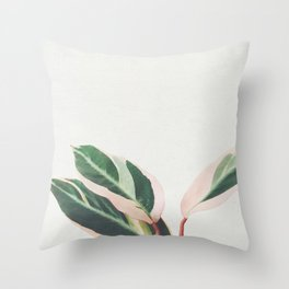Pink Leaves III Throw Pillow