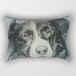 Watercolor Border Collie Portrait Rectangular Pillow