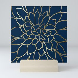 Floral Prints, Line Art, Navy Blue and Gold Mini Art Print