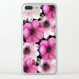 Serenity Garden: Pink Floral Pattern Clear iPhone Case