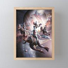 Alien Riding T-Rex Dinosaur In Space Framed Mini Art Print