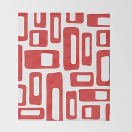 Retro Mid Century Modern Abstract Pattern 336 Red Throw Blanket