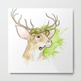 Stag Illustration Metal Print