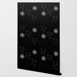 DANDELION SNOWFLAKE BLACK Wallpaper