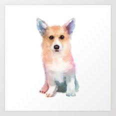 Corgi watercolor Art Print