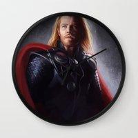 thor Wall Clocks featuring Thor by Angela Taratuta