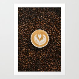 Coffee Beans & Coffee Cup Art Print
