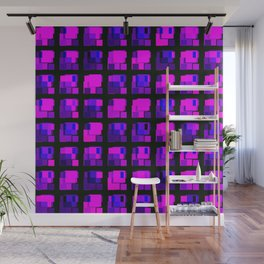 Interweaving tile of violet intersecting rectangles and dark bricks. Wall Mural
