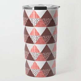 Triangle Quilt in Red Travel Mug