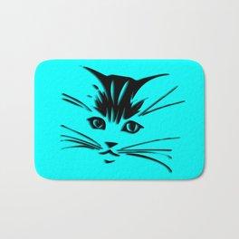 Aqua Kitty Cat Face Bath Mat
