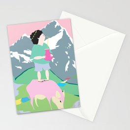 The boy and the mountain pig Stationery Cards