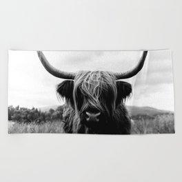 Scottish Highland Cattle Black and White Animal Beach Towel