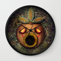 majoras mask Wall Clocks featuring Deku Mask by Stephano Herrera