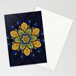 Blue and yellow floral mandala Stationery Cards