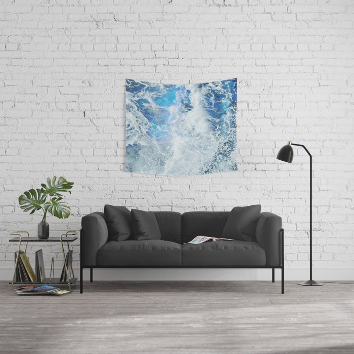 Blue Ocean Glow Wall Tapestry