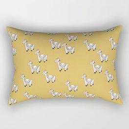 Cute little baby Llama alpaca illustration pattern neutral nursery ochre yellow Rectangular Pillow