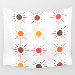 Earth Tone Suns Pattern Wall Tapestry