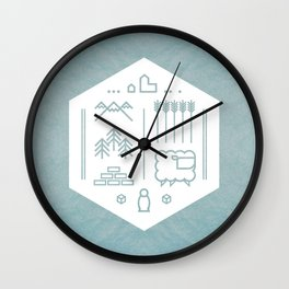 Settlers Line Art Wall Clock
