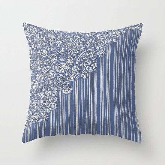 The Unraveling of Paisley Lace (in blue and cream) Throw Pillow