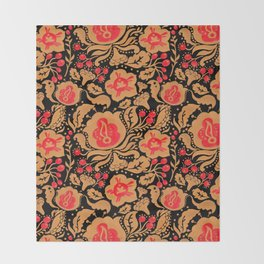 Khokhloma Kulture Pattern Throw Blanket