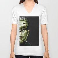 frankenstein V-neck T-shirts featuring Frankenstein by Sergio Bastidas