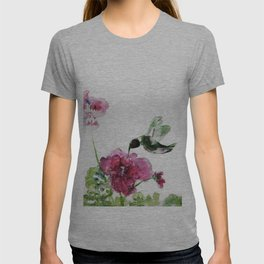 Razzberry Hummingbird watercolour by CheyAnne Sexton T-shirt