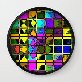 Colorful Geometric Art Abstract Retangle Colors Gift Wall Clock