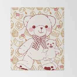 The Adventures of Bear and Baby Bear-Pastry Throw Blanket