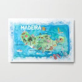Madeira Portugal Island Illustrated Map with Landmarks and Highlights Metal Print