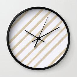 Diagonal golden stripes Wall Clock