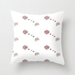 Flourish white pattern Throw Pillow