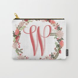 Personal monogram letter 'W' flower wreath Carry-All Pouch
