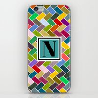 monogram iPhone & iPod Skins featuring N Monogram  by mailboxdisco