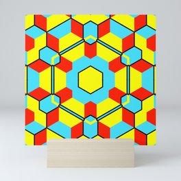 Geometric abstract cubist three-dimensional colorful cube art in a bursting circle square pattern Mini Art Print