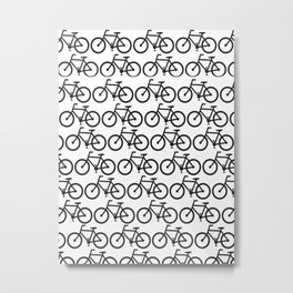 Bicycle Stamp Pattern - Black and White - Fixie Fixed Gear Bike Metal Print