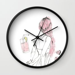 Pink Lemonade Days Wall Clock