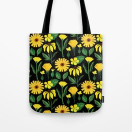 Sunshine yellow watercolor hand painted floral daisies Tote Bag