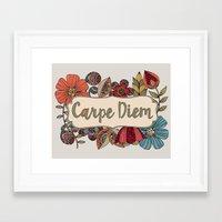 carpe Framed Art Prints featuring Carpe Diem by Valentina Harper