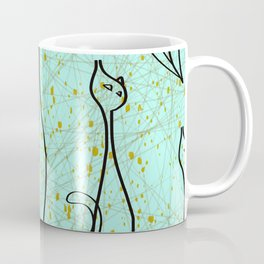 Mid Century Modern Cool Cats - Aqua Coffee Mug