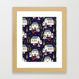Christmas Cats Village Festive Seamless Vector Pattern, Drawn Present Boxes Framed Art Print