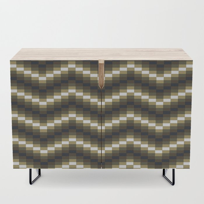 Block Wave Illustration Artwork Credenza