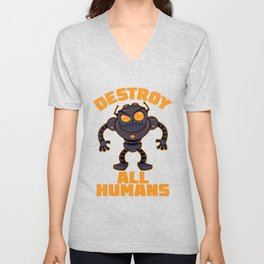 Destroy All Humans Angry Robot Unisex V-Neck
