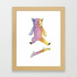 Skater Kitten Kickflip Framed Art Print
