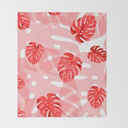 red monstera Throw Blanket