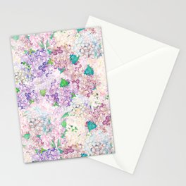 Pastel Purple and blue Lilac & Hydrangea - Flower Design Stationery Cards