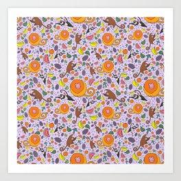 Cute Tropical Pattern Art Print