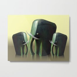 Mother elephant with two calves Metal Print