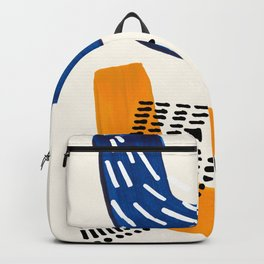 Fun Colorful Abstract Mid Century Minimalist Navy Blue Yellow Organic Shapes Water Drops Patterns Backpack